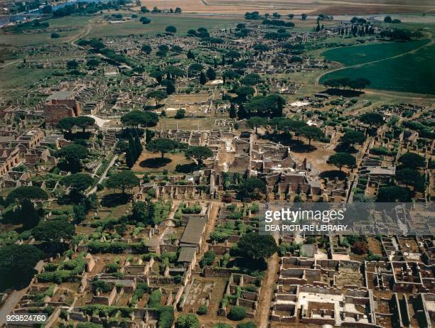 Aerial view of the archaeological area of Ostia Antica Lazio Italy Roman civilisation