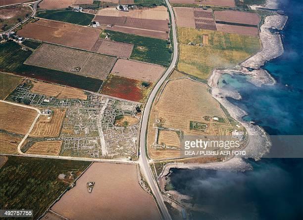 Aerial view of the archaeological area of the ancient Egnatia Fasano Apulia Italy Roman civilization