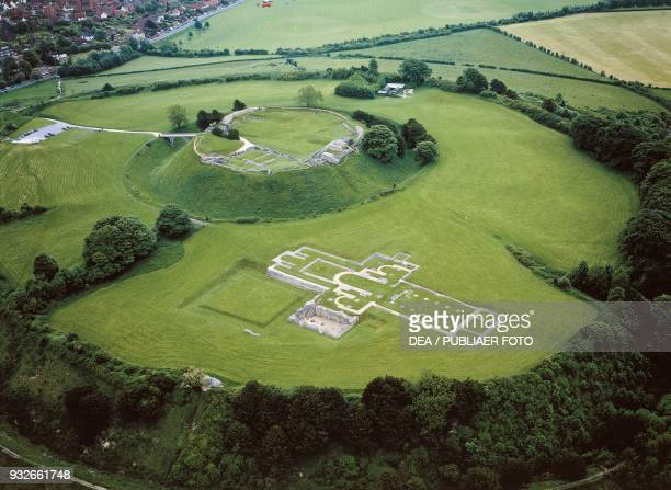 Aerial view of the archaeological site of Old Sarum with the old cathedral ancient Salisbury Wiltshire England United Kingdom