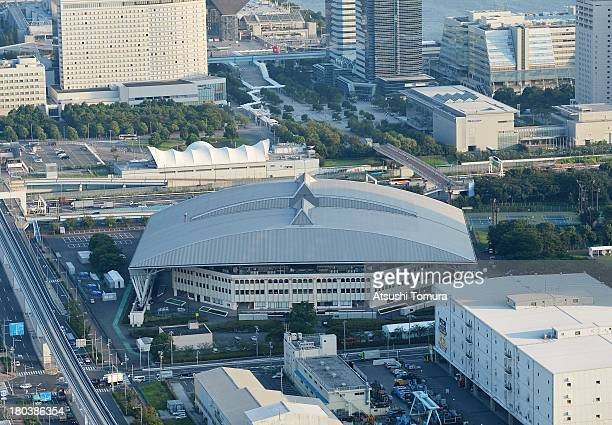 Aerial view of the Ariaketenisunomori Park will host the Tennis events during the Tokyo 2020 Olympic Games on September 12 2013 in Tokyo Japan Tokyo...