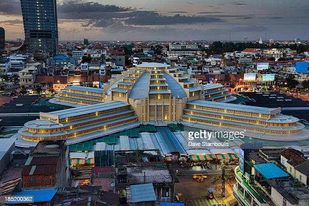 CONTENT] aerial view of the Art Deco Psar Thmei Central Market Phnom Penh Tower and city skyline Phnom Penh Cambodia