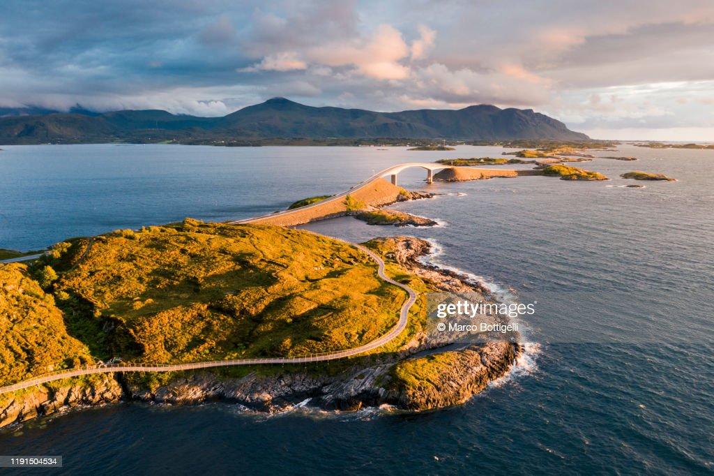 Aerial view of the Atlantic Ocean Road at sunset, Norway : Stock Photo