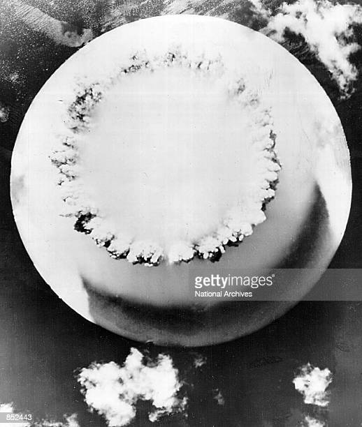 Aerial view of the atomic cloud rising July 25 1946 during the 'Baker Day' blast at Bikini Island in the Pacific