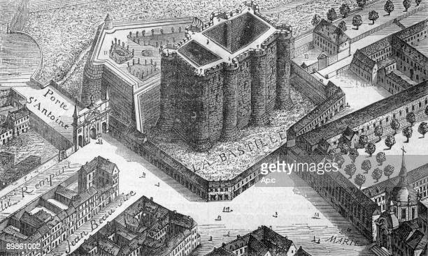 Aerial view of the Bastille in 1553, Engraving paris book through the centuries, 1878