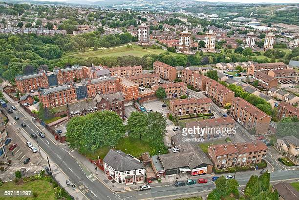 aerial view of the bathfield council estate - sheffield stock pictures, royalty-free photos & images