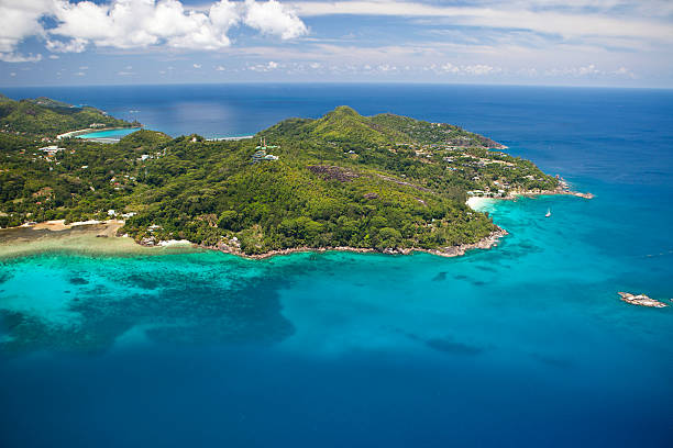 Aerial view of the bay of Anse aux Poules Bleues, Anse Aux Poules Bleues, Sud-Mahe, Mahe, Seychelles