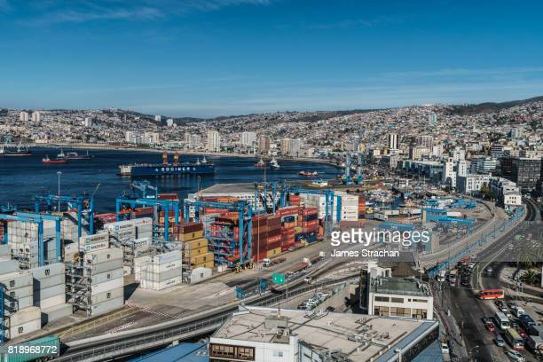 Aerial view of the Bay of Valparaiso with port and cranes in foreground, Valparaiso, UNESCO World Heritage Site, Chile