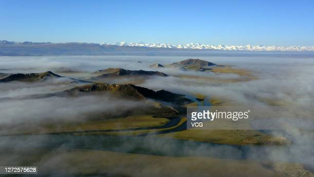 Aerial view of the Bayanbulak Wetland covered with fog on September 14, 2020 in Hejing County, Xinjiang Uygur Autonomous Region of China.