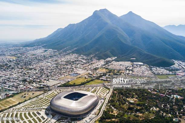 Aerial view of the BBVA Bancomer Stadium prior the second leg of the Torneo Apertura 2017 Liga MX final between Monterrey and Tigres UANL at BBVA...