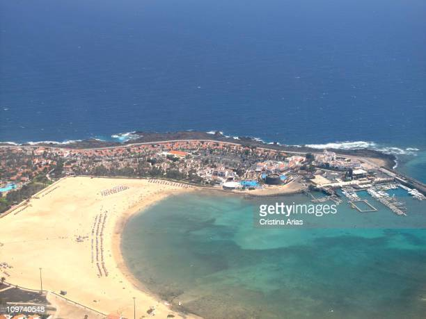 Aerial view of the beach and hotels of Caleta de Fuste in Fuerteventura Canary Islands Spain september 2010