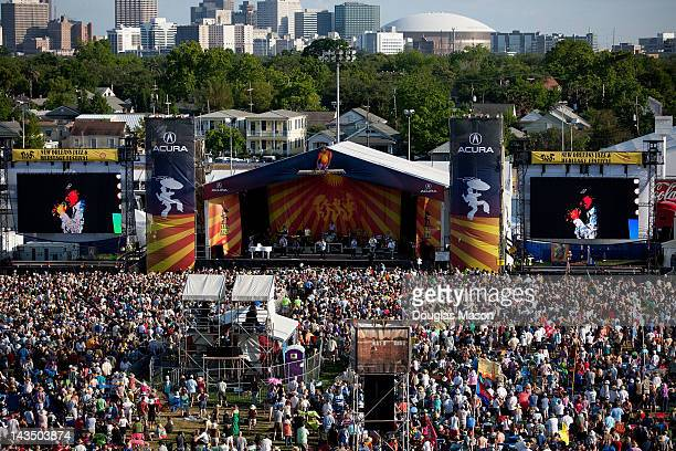 Aerial view of the Beach Boys performing during the 2012 New Orleans Jazz Heritage Festival at the Fair Grounds Race Course on April 27 2012 in New...