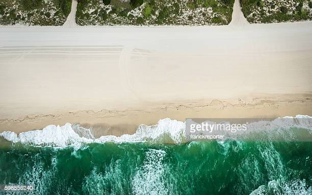 aerial view of the beach in miami - miami beach stock pictures, royalty-free photos & images