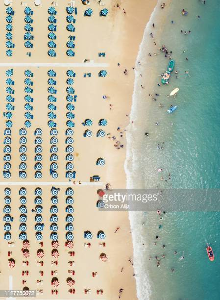 aerial view of the beach - emilia romagna stock pictures, royalty-free photos & images