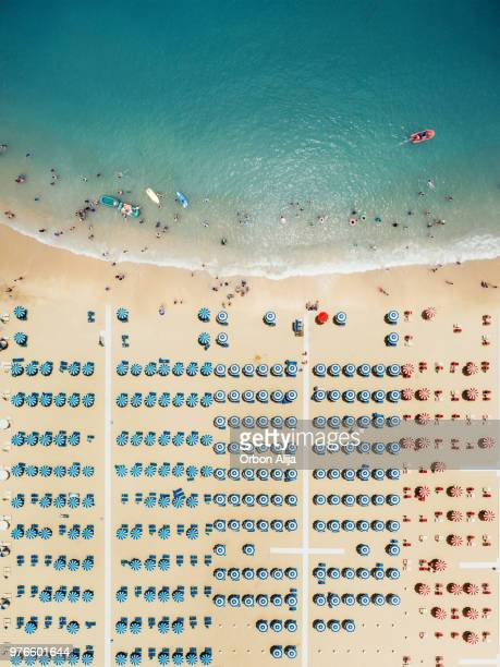 aerial view of the beach - sunshade stock pictures, royalty-free photos & images
