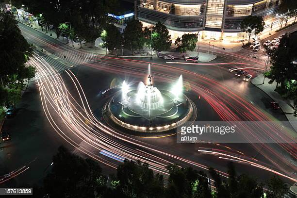 Aerial view of the beautiful Diana Fountain at night