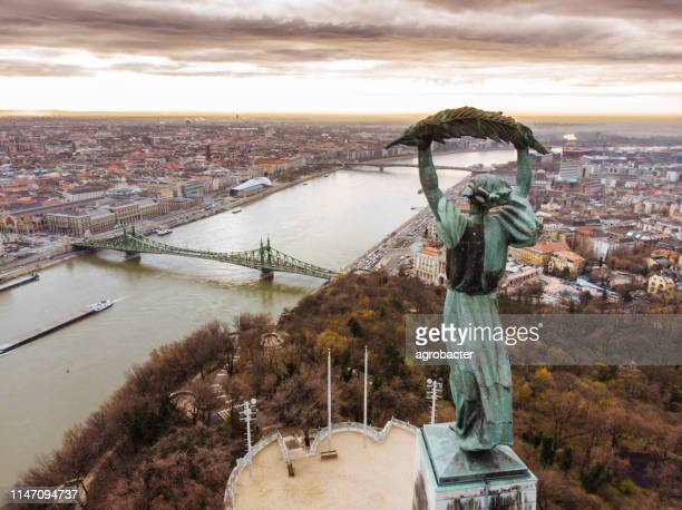 aerial view of the beautiful hungarian statue of liberty - danube river stock pictures, royalty-free photos & images