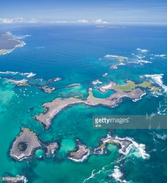 Aerial view of the beautiful Las Tintoreras, Isla Isabela, Galapagos Islands, Ecuador