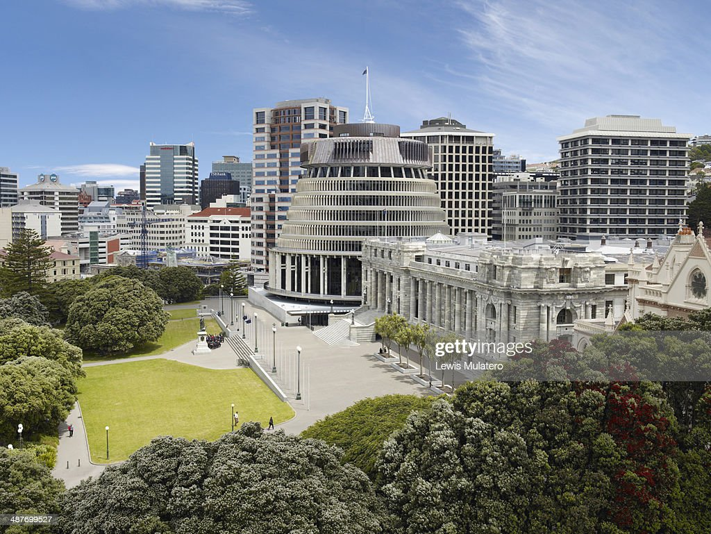 Aerial view of The Beehive and NZ Parliament House : Stock Photo