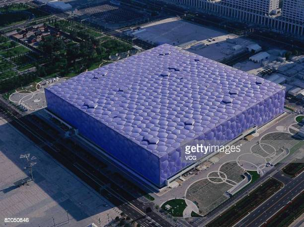 Aerial view of the Beijing National Aquatics Centre also known as the 'Water Cube' on July 22 2008 in Beijing China
