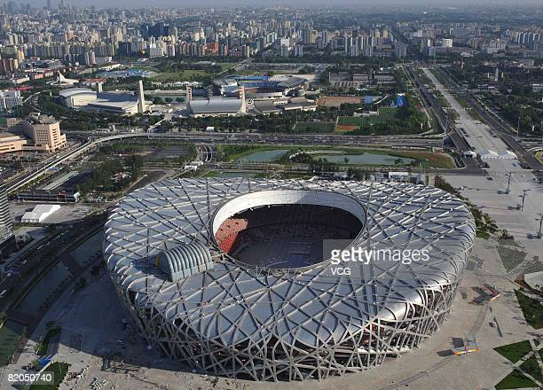 Aerial view of the Beijing National Stadium also known as the 'Bird's Nest' on July 22 2008 in Beijing China