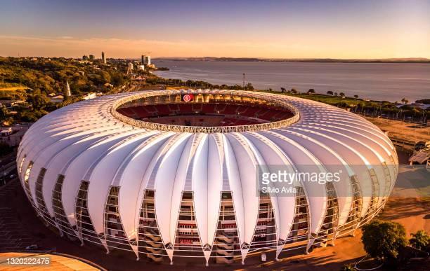 Aerial view of the Beira-Rio Stadium prior to a group B match of Copa CONMEBOL Libertadores 2021 between Internacional and Always Ready at Beira-Rio...