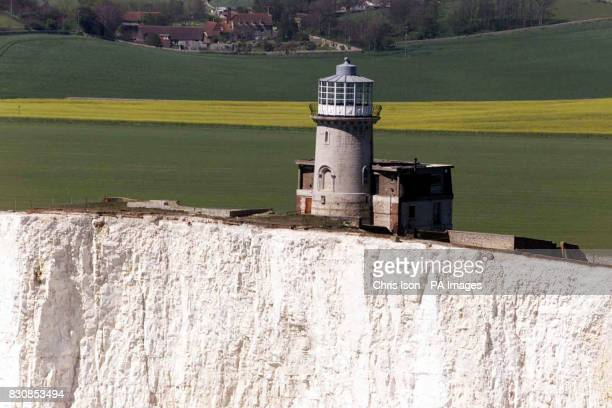 Aerial view of the Belle Tout Lighthouse at Beachy Head in East Sussex which was famously saved from falling into the sea by moving it on rails