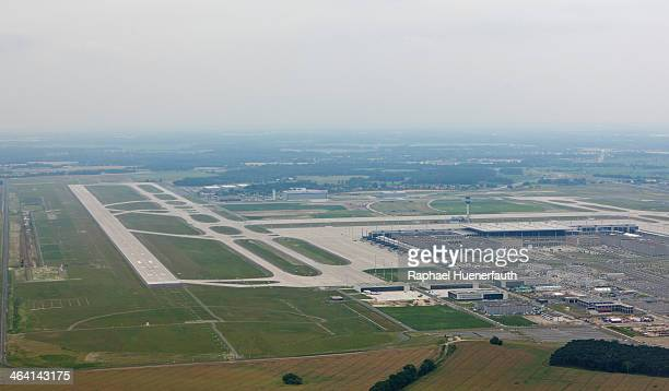 Aerial view of the Berlin Brandenburg Airport on June 27 in Berlin, Germany. The Berlin Brandenburg Airport is an international airport under...