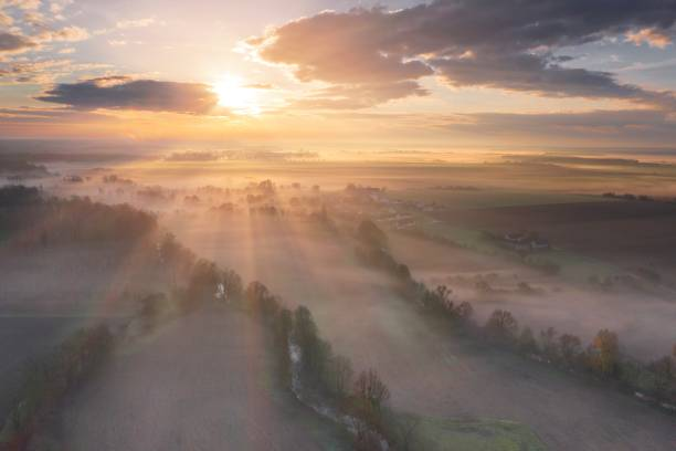 Aerial View Of The Berry Countryside At Foggy Morning