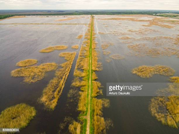Aerial view of the biggest lake in Latvia - Lubans