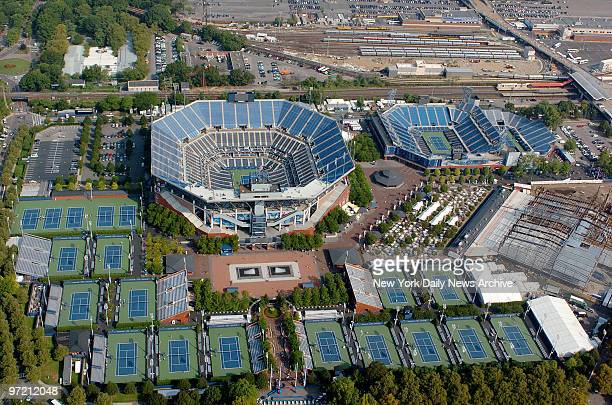 Aerial view of the Billie Jean King National Tennis Center in Flushing Meadows-Corona Park. In the center is Arthur Ashe Stadium and to the right,...