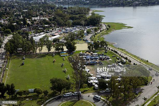 Aerial view of the bivouac in Villa Carlos Paz Cordoba Argentina taken during the 2016 Dakar Rally on January 3 2016 Poor weather forced the...