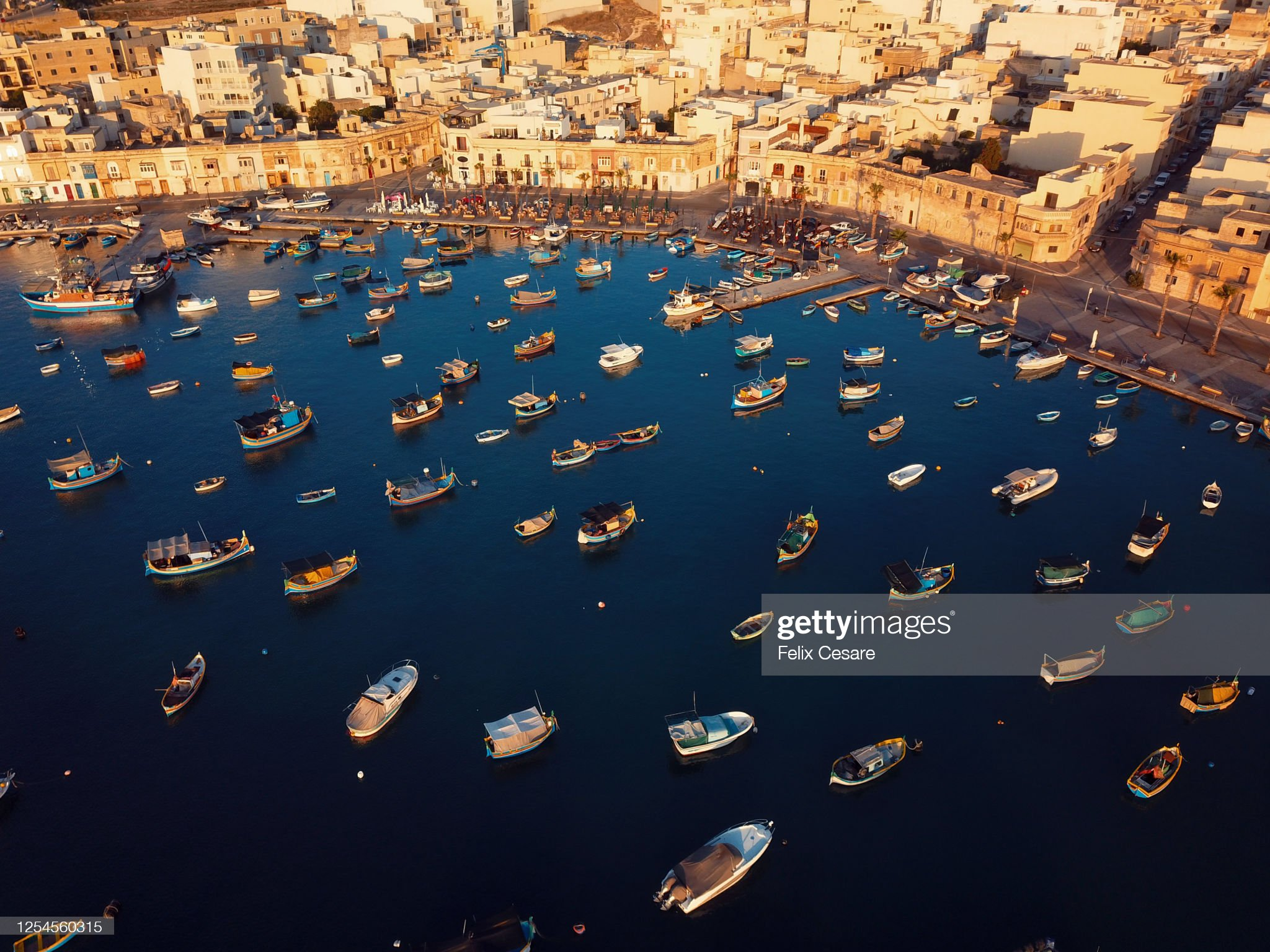 Aerial view of the boats at Marsaxlokk harbour in Malta. A fishing village in the south of Malta. : 圖庫照片