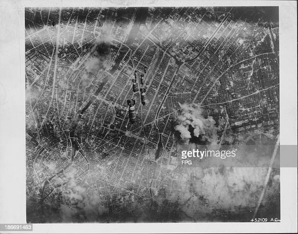 Aerial view of the bombs dropped from US 8th Air Force strike on Berlin during World War Two Germany circa 19391945
