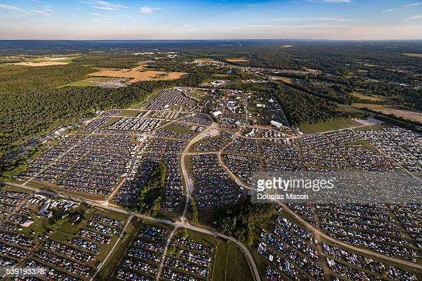 Aerial view of the Bonnaroo Music and Arts Festival 2016 on June 9 2016 in Manchester Tennessee