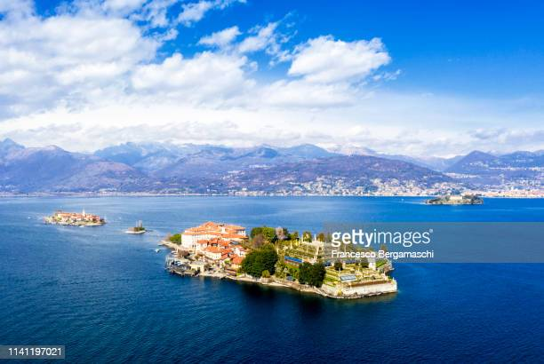 aerial view of the borromee islands with isola bella in the foreground. stresa, lake maggiore, piedmont, italy. europe. - stresa ストックフォトと画像