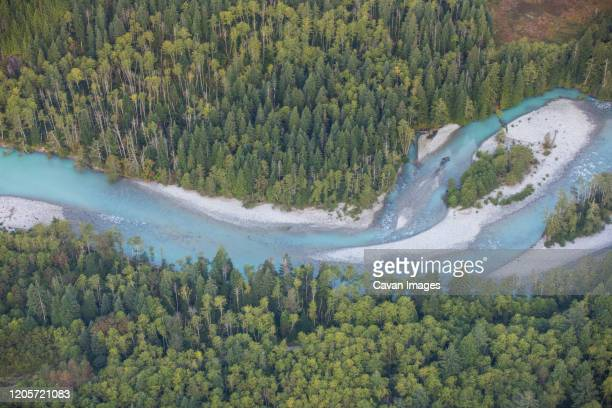 aerial view of the braided upper stave river, vancouver, b.c. - vancouver kanada stock-fotos und bilder