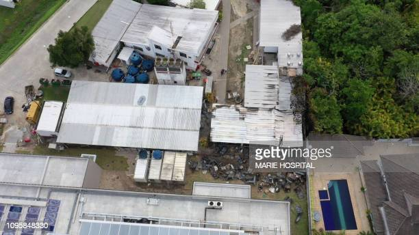 Aerial view of the Brazilian Flamengo football club training center after a building that housed players aged 14 to 17 caught fire at dawn in Vargem...