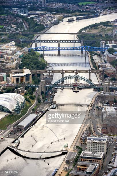 WEAR ENGLAND Aerial view of the bridges crossing the River Tyne in Newcastle in this Photograph by David Goddard