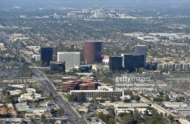 Aerial view of the building along Bristol Street at The 405 Freeway photographed during a media flight for the Great Pacific Airshow in Costa Mesa,...