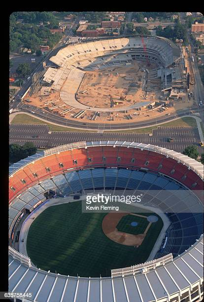 Aerial view of the building of Olympic Stadium in Atlanta for the 1996 Summer Olympics. Fulton County Stadium , home of the Braves baseball team, was...
