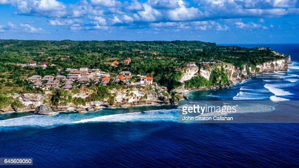 aerial view of the bukit peninsula - peninsula stock pictures, royalty-free photos & images
