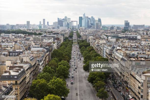 aerial view of the business and financial district of la defense in paris - didier marti stock photos and pictures