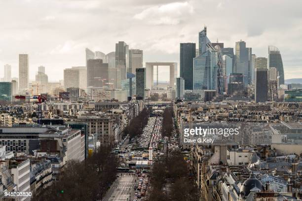 aerial view of the business and financial district of la defense in paris - la défense stock pictures, royalty-free photos & images