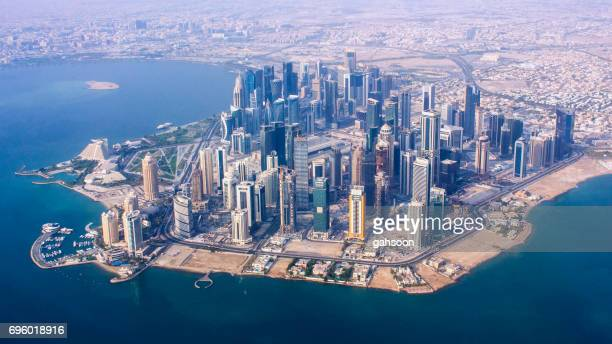 aerial view of the business district of doha city, capital of qatar - gulf countries stock pictures, royalty-free photos & images