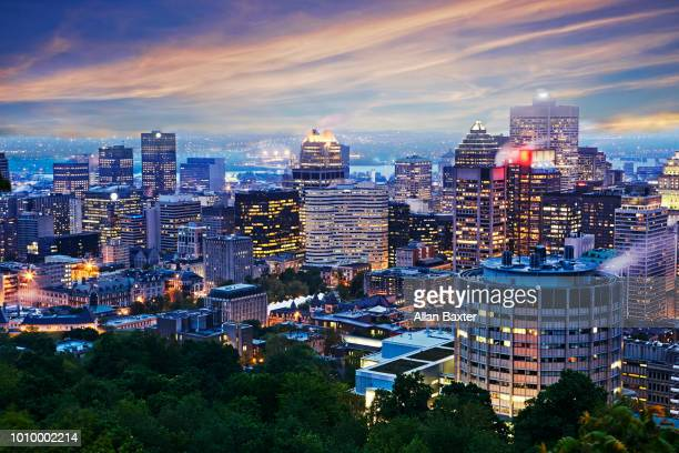 Aerial view of the business district of Montreal illuminated at dusk