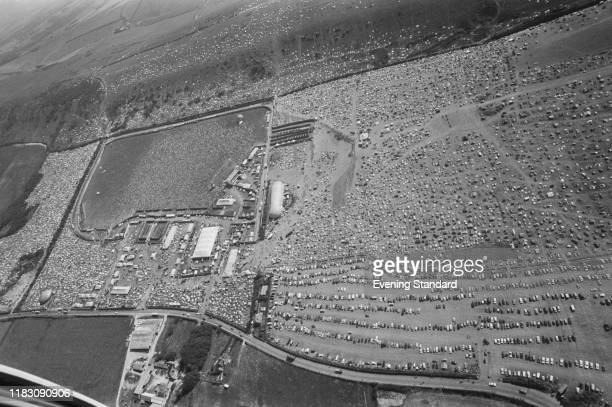Aerial view of the campsite and stage site at the Isle of Wight Festival Afton Down UK 26th31st August 1970