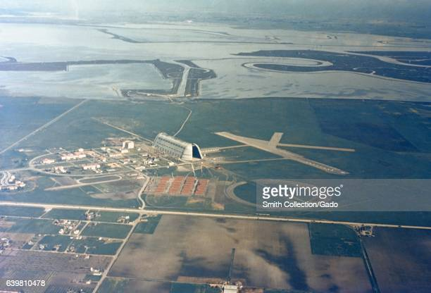 Aerial view of the campus at the NASA Ames Research center in Mountain View California including Silicon Valley land which would later be used for...