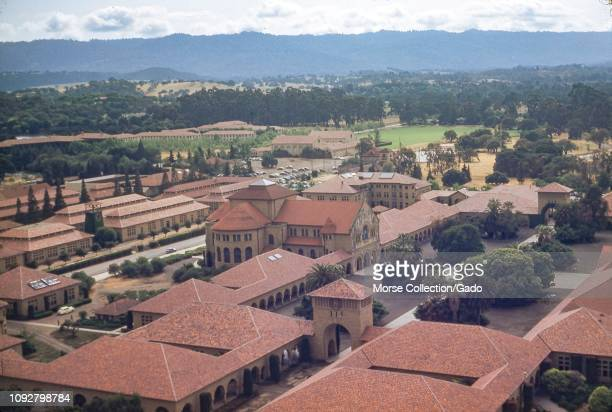 Aerial view of the campus of Stanford, University, including Stanford Memorial Church, likely taken from Hoover Tower in the Silicon Valley, Palo...