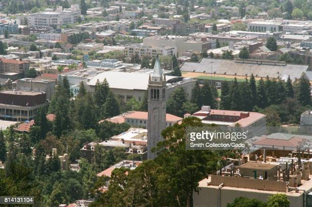 Aerial view of the campus of the University of California Berkeley including the campanile clock tower Berkeley California June 19 2017