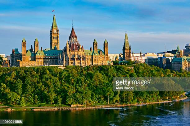 Aerial view of the Canadian Parliament building at dusk